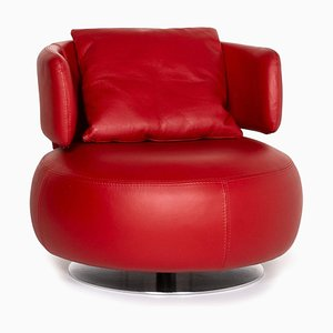 Red Leather Curl Swivel Armchair from Roche Bobois