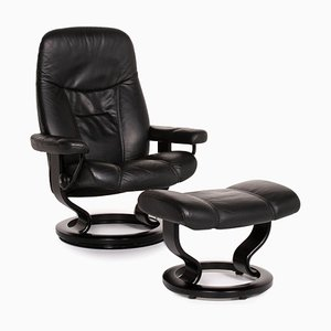 Black Leather Consul Relax Function Armchair & Stool by Kein Designer for Stressless, Set of 2