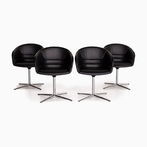 Black Leather Kyo Swivel Armchairs from Walter Knoll, Set of 4
