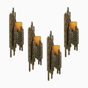 Brutalist Wall Sconce with Murano Glass by Marcello Fantoni, 1960s