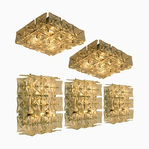 Nickel Crystal Glass Wall Light or Flush Mount from Kinkeldey, 1970s