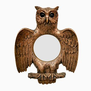 Vintage French Convex Bubble Owl Mirror, 1960s