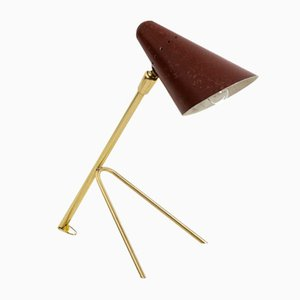 Kleine Tischlampe aus rot lackiertem Metall & vergoldetem Messing, 1950er