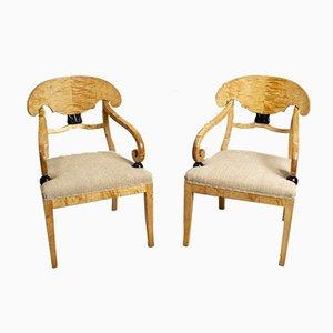 Große schwedische Beistellstühle aus Birke, 19. Jh., 2er Set