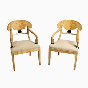 Large 19th Century Swedish Birch Side Chairs, Set of 2