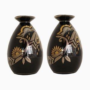 Art Deco Belgian Model D1780-945 Vases from Bosh, Set of 2