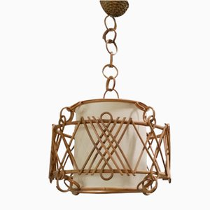 French Rattan Pendant Lamp, 1950s