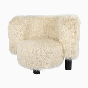 Wham Chair 9206CRFF in Cream-Colored Imitation Fur by Hermann August Weizenegger for Pulpo