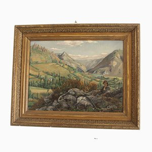Framed Shepherdess Oil Painting from Lemarty, 1918