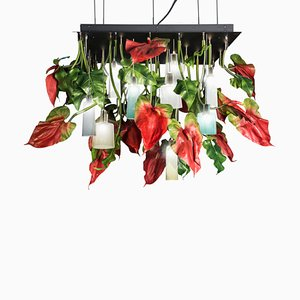 Flower Power Square Anthurium Chandelier with Mun Glass Lamps from Vgnewtrend