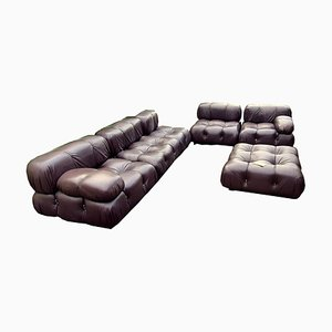 Vintage Leather Modular Camaleonda Sofa by Mario Bellini for B&B Italia / C&B Italia, 1970s, Set of 6