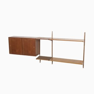 Teak Wall Unit with Sliding Door by Kai Kristiansen for Feldballes Mobelfabrik