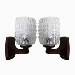 Vintage Brown Plastic and Clear Glass Sconces, 1970s, Set of 2