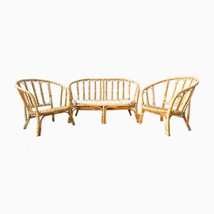Mid-Century Bamboo Sofa and Armchairs Set, 1960s