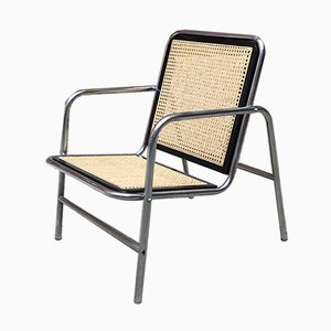 Italian Chrome-Plated Steel, Wood, and Wicker Lounge Chairs, 1970s, Set of 2