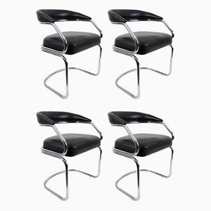 Chaises de Salon en Cuir et Métal Plaqué Chrome, Italie, 1970s, Set de 4