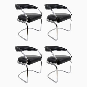Italian Leather and Chrome-Plated Metal Dining Chairs, 1970s, Set of 4