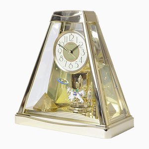 Postmodern Golden Pyramid Clock from Seiko, 1990s