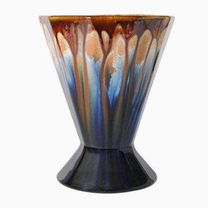 Belgische Vintage Keramikvase mit Tropfglasur von Faiencerie Thulin