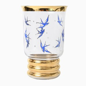 Vintage Belgian Glass Vase with Swallows from Laeken