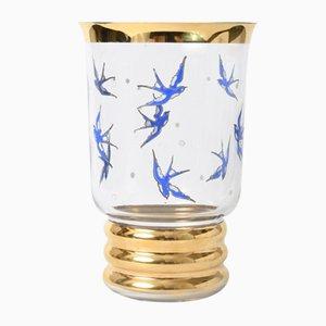 Vintage Belgian Glass Vase with Swallows from Laeken