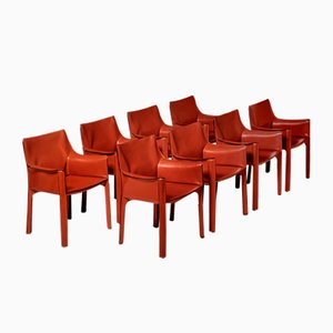 Cab Chairs by Mario Bellini for Cassina, 1970s, Set of 8