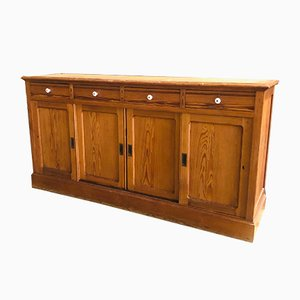Large Vintage Buffet with Porcelain Hand Grips and Sliding Doors