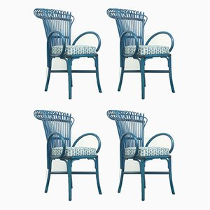 Vintage Blue Lounge Chairs, 1970s, Set of 4