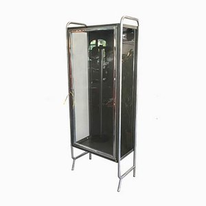 Vintage Tubular Stainless Steel and Clear Glass Medical Cabinet, 1950s