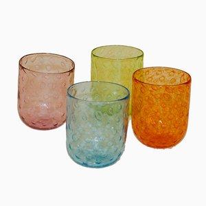 Murano Glass Glasses by Vestidello Luca for Vetrarti, 2004, Set of 4