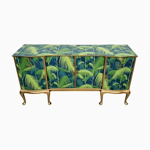 Vintage Sideboard with Palm Decoupage, 1960s