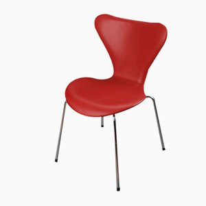 Chaises de Salon Mid-Century en Cuir Rouge par Arne Jacobsen pour Fritz Hansen, Inde, 1960s, Set de 8