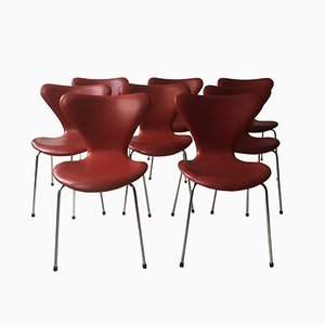 Mid-Century Indian Red Leather Dining Chairs by Arne Jacobsen for Fritz Hansen, 1960s, Set of 8