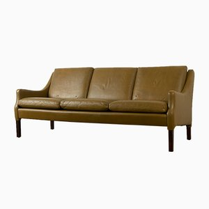 Vintage Danish Olive Green Leather Sofa, 1960s