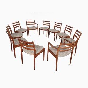 Sedie da pranzo in teak di Arne Vodder per France & Søn / France & Daverkosen, anni '60, set di 10