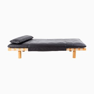 Pallet Daybed 4400LB-ON in Black Leather and Natural Wood Frame by Sebastian Herkner for Pulpo