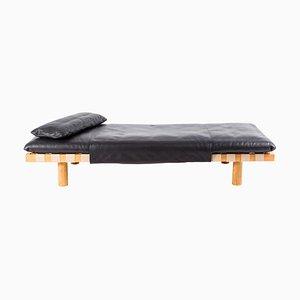 Pallet Tagesbett 4400LB-ON aus schwarzem Leder und Naturholz von Sebastian Herkner für Pulpo