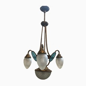 Jugendstil Deckenlampe aus Metall, Bronze und Graviertem Glas