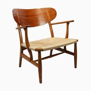 Oak & Papercord Model CH22 Armchair by Hans J. Wegner for Carl Hansen & Søn, 1950s