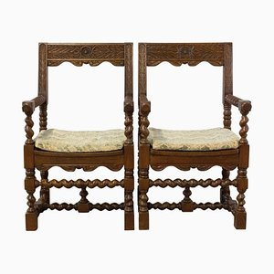 Mid-Century Spanish Colonial Style Chestnut Twisted Columns Armchairs, 1960s, Set of 2