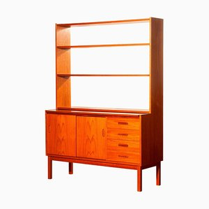 Teak Bookcase with Slidable Writing or Working Space, Sweden, 1960s