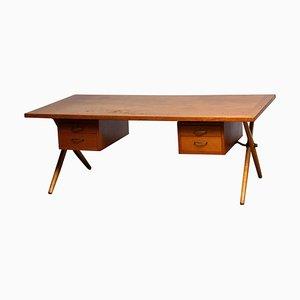 Dutch Oak Crossed Leg Directors Desk in the Style of Andreas Tuck, 1950s