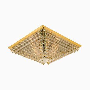 Large Gold-Plated Pyramide Flush Mount from Venini, Italy, 1970s