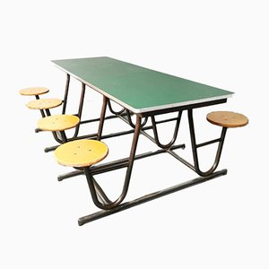 Vintage Industrial 8-Seat School Picnic Canteen Dining Table, 1960s
