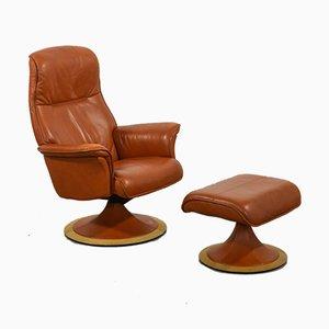 Poltrona e ottomana in pelle color cognac di Berg Furniture, set di 2