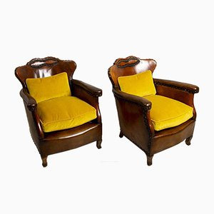Swedish Leather Club Chairs by Otto Schultz, 1920s, Set of 2