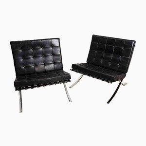 Chaise en Cuir par Ludwig Mies Van Der Rohe pour Knoll International, 1950s, Set de 2