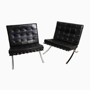 Leather Chairs by Ludwig Mies Van Der Rohe for Knoll International, 1950s, Set of 2