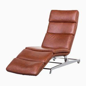 Chaise longue inclinable de cuero coñac y metal cromado, años 2000