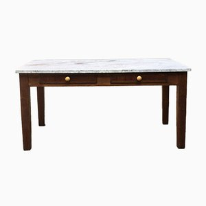 Mid-Century Italian Wood and White Marble Kitchen Table, 1960s